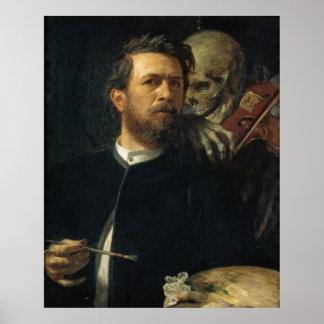 Arnold Böcklin - Auto-Retrato com morte Impressão