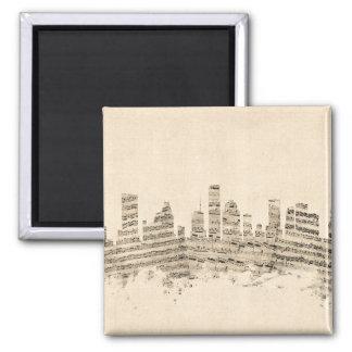 Arquitectura da cidade da partitura da skyline de ímã quadrado