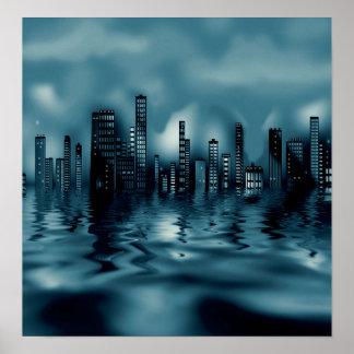 Arquitectura da cidade escura dos azuis com poster