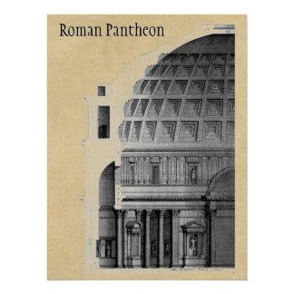 Arquitetura clássica do panteão romano pôster