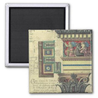 Arquitetura do vintage, coluna com molde do ímã quadrado