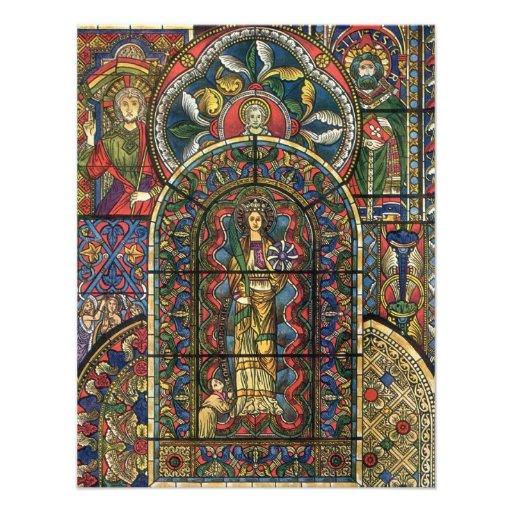 Arquitetura do vintage, janela da igreja do vitral convites personalizado