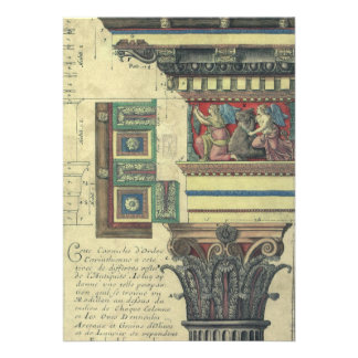 Arquitetura do vintage molde do Cornice e coluna Convites Personalizado