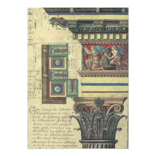 Arquitetura do vintage, molde do Cornice e coluna Convites Personalizado