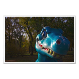 Arreganho azul do dinossauro impressão de foto