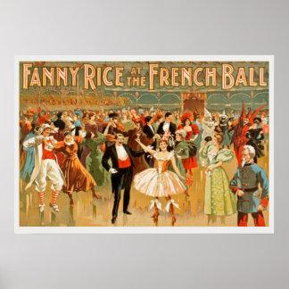 Arroz de Fanny no poster vintage francês da bola