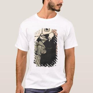 Arrumadores dignos de um homem uma jovem mulher em camiseta