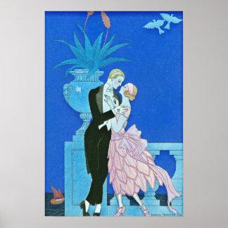 Art deco da meia-noite do beijo poster