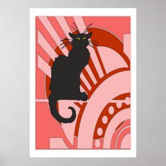 Art deco do gato preto poster
