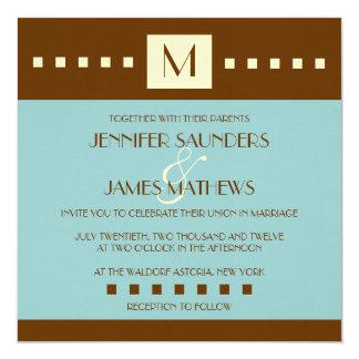 Art deco do monograma de Brown azul que Wedding o Convite Quadrado 13.35 X 13.35cm