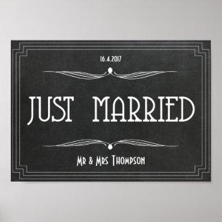 Art deco do recem casados que wedding o poster pôster