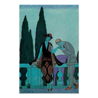 Art deco do vintage, amantes no d'Este da casa de Poster