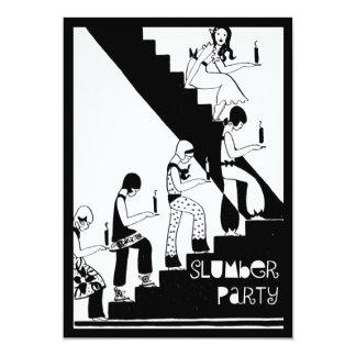 Art deco do vintage do partido de descanso do convite 12.7 x 17.78cm