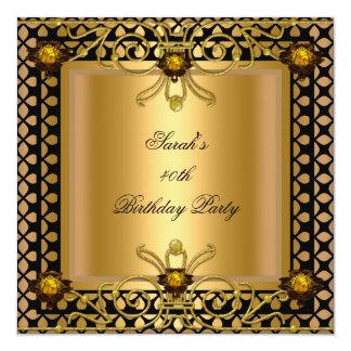 Art deco elegante do preto do ouro do aniversário convite quadrado 13.35 x 13.35cm