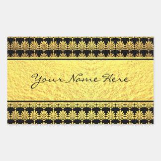 Art deco extravagante do ouro do falso com nome adesivo retangular