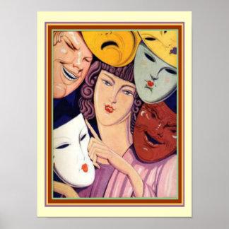 """Art deco """"muitas máscaras"""" 12 x impressão 16"""