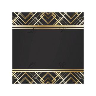 Art deco, preto, ouro, elegante, chique, monograma impressão em tela
