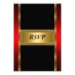 Art deco preto vermelho RSVP do ouro Convites Personalizado