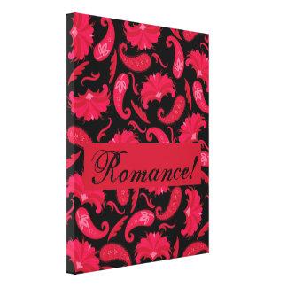 Art deco romance preto vermelho Paisley parisiense Impressão Em Tela
