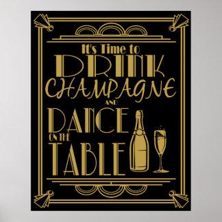 Art deco sua hora de beber o champanhe poster