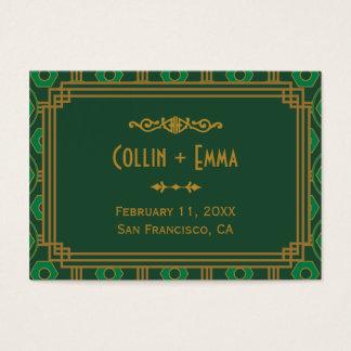 Art deco verde que Wedding cartões do lugar