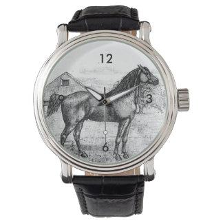 Arte 1888 do desenho do vintage da raça do cavalo relogio de pulso