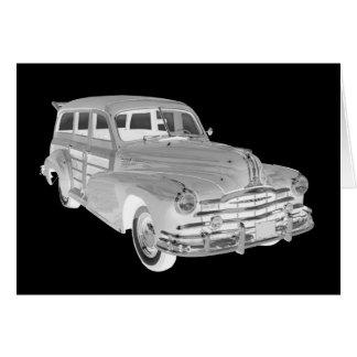 Arte 1948 arborizado do carro da raia de prata de cartão comemorativo