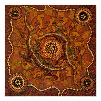 Arte aborígene - Goanna que sonha o poster Pôster