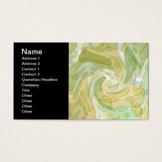 Arte abstracta amarela verde de roda cartão de visitas