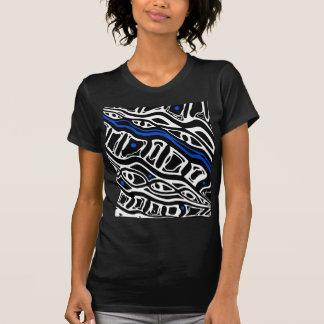 Arte abstracta azul, do branco e do blac camiseta