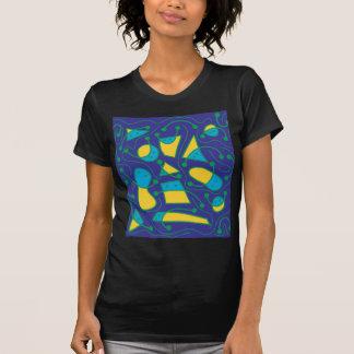 Arte abstracta brincalhão - azul e amarelo camiseta