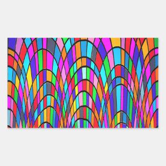 Arte abstracta colorido do mosaico do vitral adesivos em formato retangulares