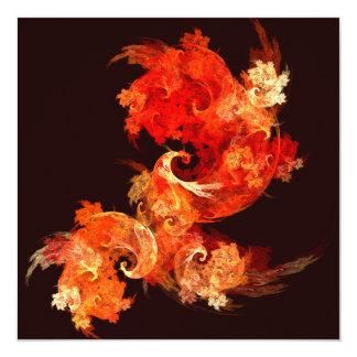 Arte abstracta de Firebirds da dança Convite Quadrado 13.35 X 13.35cm
