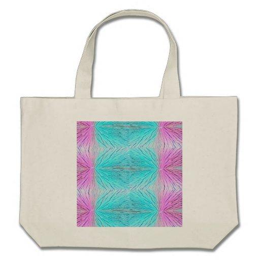 Arte abstracta dos cristais nos rosa e no verde az bolsa para compras