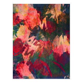 Arte abstracta, folhas de outono, rosa vermelho do cartão postal
