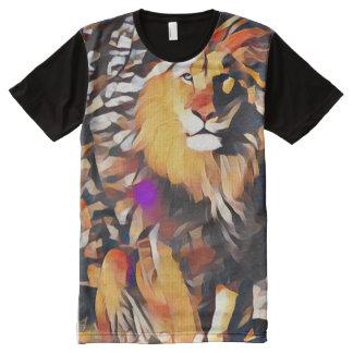 Arte abstracta moderna do Cubism do leão colorido Camisetas Com Impressão Frontal Completa