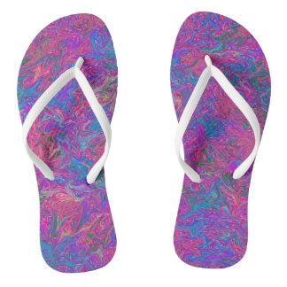 Arte abstracta plástica cor-de-rosa da grade chinelos