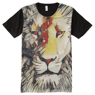 Arte abstracta psicadélico do espírito do leão camiseta com impressão frontal completa