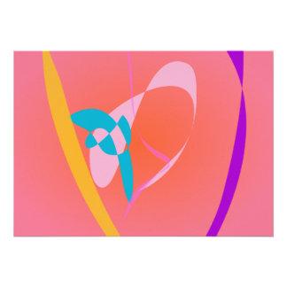 Arte abstracta simples cor-de-rosa coral convites personalizados