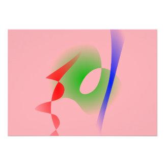 Arte abstracta simples do rosa Salmon Convite Personalizado