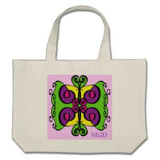 Arte abstracta tribal colorida com monograma bolsas de lona
