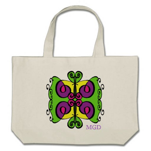 Arte abstracta tribal colorida com monograma bolsas