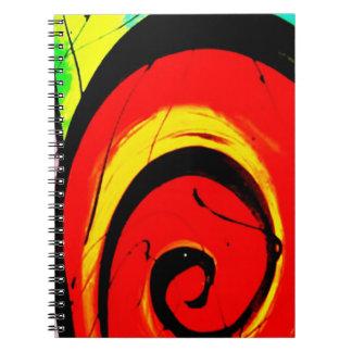 Arte abstracta vermelha do redemoinho cadernos espiral