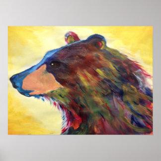 Arte abstrata colorida do urso pôster