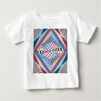 Arte abstrata geométrica vermelha, branca, azul do camiseta para bebê