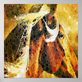 arte abstrata moderna do país ocidental do cavalo pôsteres