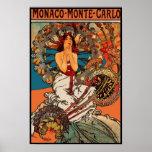 Arte Alfons Mucha Monaco Monte - Carlo do vintage