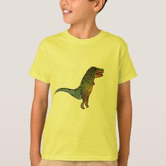 Arte amarela do dinossauro de T-Rex dos miúdos Camiseta
