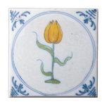 Arte amarela Trivet de Delft da tulipa do vintage Azulejo Quadrado Pequeno