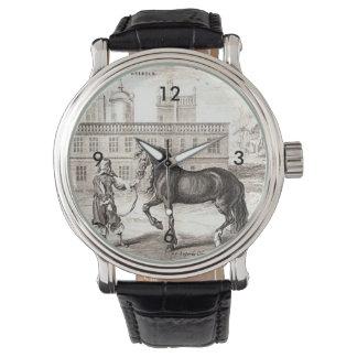 Arte andaluza do desenho do vintage do cavalo relogio